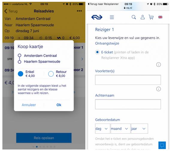 ns start mobiele kaartverkoop in reisplanner applicatie